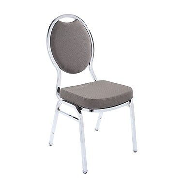 NPS® Fabric Tear Drop Back Stack Chair, Mocha Cream Dot/Chrome, 4/Pack