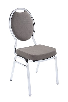 NPS® Fabric Tear Drop Back Stack Chair, Mocha Cream Dot/Chrome, 4/Pack
