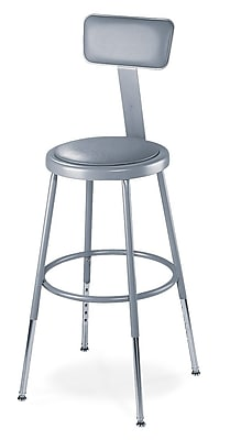 """""""""""NPS 19"""""""""""""""" - 27"""""""""""""""" Vinyl Padded Round Adjustable Stool With Backrest, Gray, 4/Pack"""""""""""" 310774"""