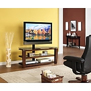 "Whalen® 52"" Flat Panel 3-in-1 Swivel TV Stand, Brown Cherry"