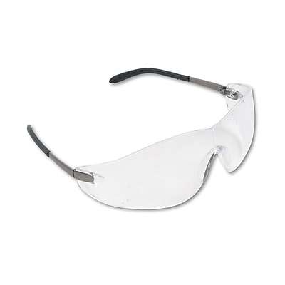 MCR Safety Blackjack® Non Slip Temple Sleeve Safety Glasses, Clear lens