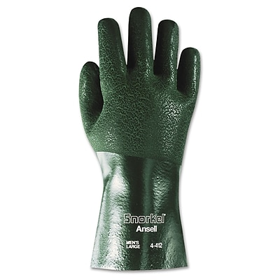 Ansell® Snorkel® Jersey Knit Lining PVC Chemical Resistant Exam Gloves, Green, XL, 12 Pair