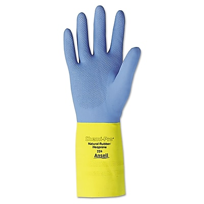 Ansell® Chemi-Pro® 87-224 Flock Lining Neoprene/Latex Chemical Resistant Gloves, Blue/Yellow, XL