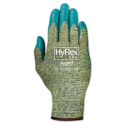 Ansell® HyFlex® 11501 DuPont™ Kevlar® Lining Foam Nitrile Cut Resistant Gloves, Green/Blue, Medium