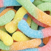 Ferrara Sour Wow Worms in a 5 lbs. bag