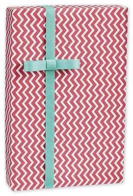 Chevron Gift Wrap, White/Red, 30
