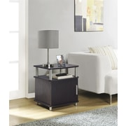 Carson End Table with Storage, Espresso/Silver