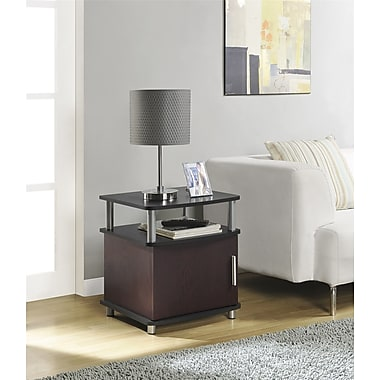 Carson End Table with Storage, Cherry/Black