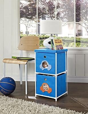 Altra Furniture Kids' 2-Bin Storage Unit, Blue with Car Theme, BLUE