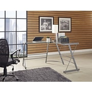 Altra Odin Glass L-Shaped Computer Desk, Gray