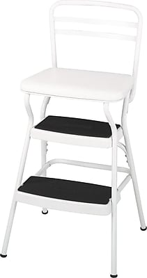 Cosco Products Cosco White Retro Counter Chair / Step Stool with Lift-up Seat, BRIGHT WHITE/BRIGHT WHITE