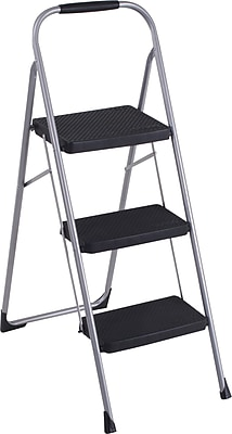 Cosco Products Cosco Three Step Big Step Folding Step Stool with Rubber Hand Grip, PLATINUM/BLACK