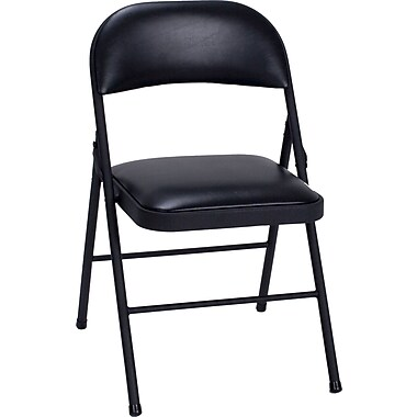 Cosco Products Cosco Vinyl Folding Chair Black (4-pack), BLACK