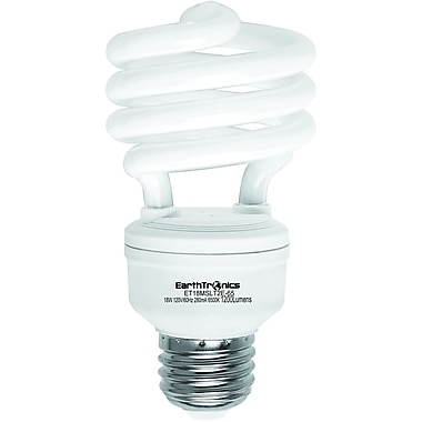 Earthbulb® 18 W 6500K T2E Spiral Compact Fluorescent Light Bulb, Daylight, 12/Pack
