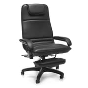 OFM Barrister Faux Leather Executive Office Chair, Fixed Arms, Black (811588015368)