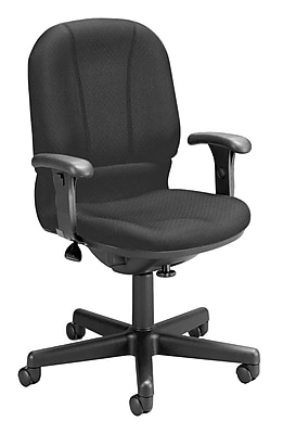 OFM Posture Series Fabric Swivel Task Chair with Arms, Black, (640-236)