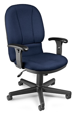 OFM Posture Fabric Computer and Desk Office Chair, Navy, Adjustable Arm (811588015030)