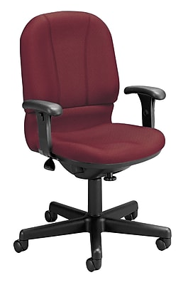 OFM Posture Series Fabric Swivel Task Chair with Arms, Wine, (640-238)