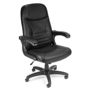OFM MobileArm Leather Executive Office Chair, Adjustable Arms, Black (811588014620)
