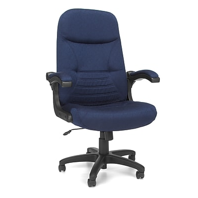 OFM MobileArm Fabric High-Back Executive Conference Chair with Flip-up Arms, Navy, (550-304)