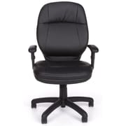 OFM Stimulus Leather Executive Office Chair, Adjustable Arms, Black (521-LX-T-AA)