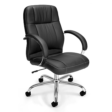 OFM Stimulus Leather Executive Office Chair, Fixed Arms, Black (845123012253)