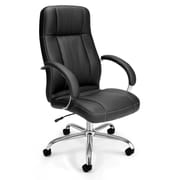 OFM Stimulus Leather Executive Office Chair, Fixed Arms, Black (516-LX-T)