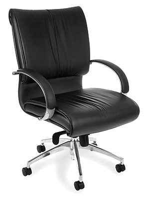 OFM Sharp Leather Executive Office Chair, Fixed Arms, Black (845123005705) 320324