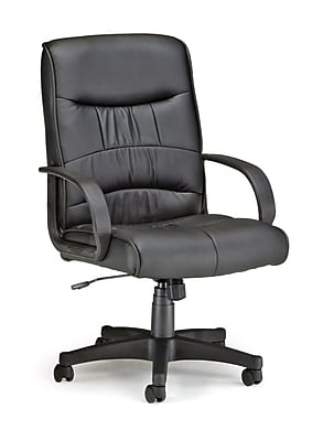 OFM Encore Faux Leather Executive Office Chair, Fixed Arms, Black (508-LX-T)