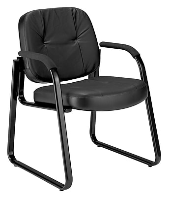 OFM Leather Guest and Reception Chair with Extra Thick Cushion, Black (503-L)