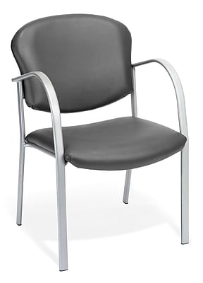 OFM™ Danbelle Series Vinyl Contract Guest/Reception Chair With Waterfall Seat, Charcoal