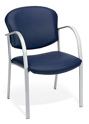 OFM™ Danbelle Series Vinyl Contract Guest/Reception Chair With Waterfall Seat, Navy