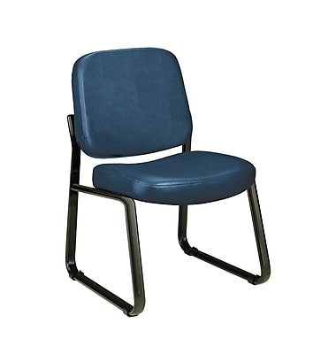OFM Model 405-VAM Armless Guest and Reception Chair, Anti-Microbial/Anti-Bacterial Vinyl, Navy, (405-VAM-605)