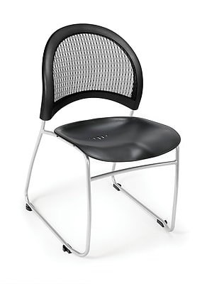 OFM Moon Series Plastic Stack Chair With Mesh Back, Black