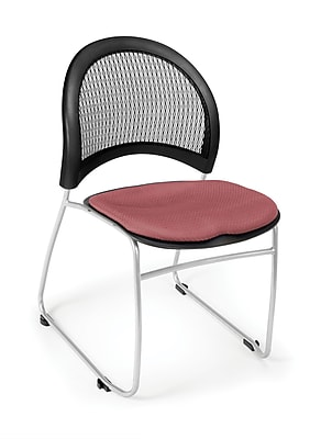 OFM Moon Series Fabric Stack Chair With Mesh Back, Coral Pink