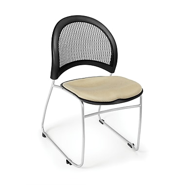OFM Moon Series Fabric Stack Chair With Mesh Back, Khaki
