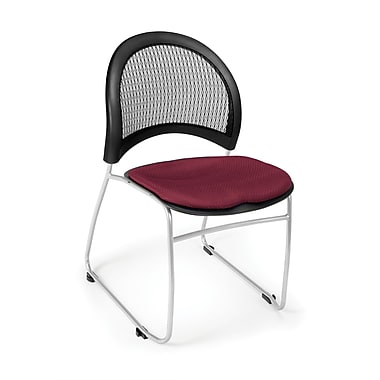 OFM Moon Series Fabric Stack Chair With Mesh Back, Burgundy