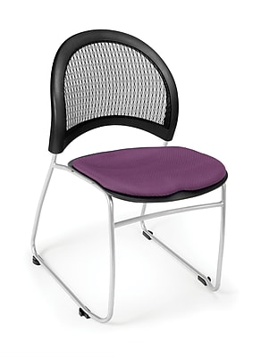 OFM™ Moon Series Fabric Stack Chair With Mesh Back, Plum