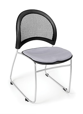 OFM Moon Series Fabric Stack Chair With Mesh Back, Putty