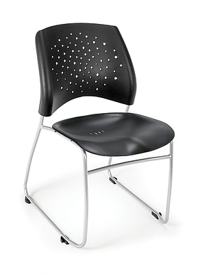 OFM Stars Series Plastic Stack Chair With Triple Curve Seat Design, Black