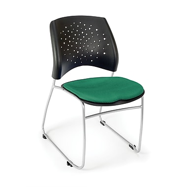 OFM Stars Series Fabric Stack Chair With Triple Curve Seat Design, Shamrock Green