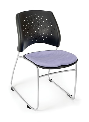 OFM Stars Series Fabric Stack Chair With Triple Curve Seat Design, Lavender