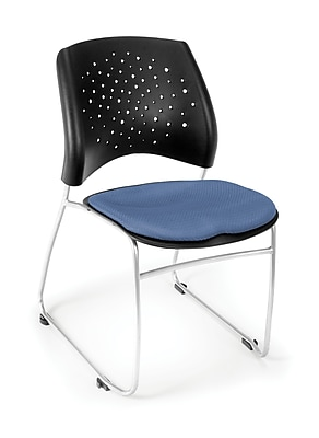 OFM Stars Series Fabric Stack Chair With Triple Curve Seat Design, Colonial Blue
