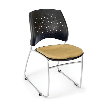 OFM Stars Series Fabric Stack Chair With Triple Curve Seat Design, Golden Flax (845123048580)