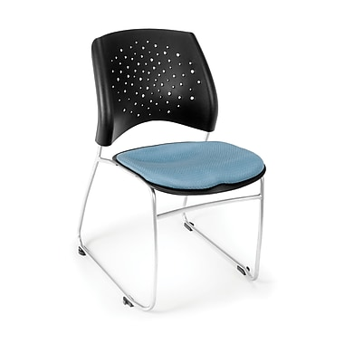 OFM Stars Series Fabric Stack Chair With Triple Curve Seat Design, Cornflower Blue
