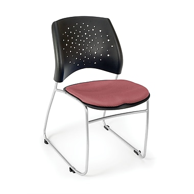 OFM Stars Series Fabric Stack Chair With Triple Curve Seat Design, Coral Pink