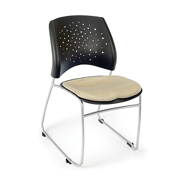 OFM Stars Series Fabric Stack Chair With Triple Curve Seat Design, Khaki