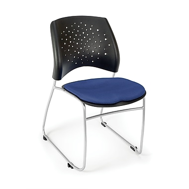 OFM Stars Series Fabric Stack Chair With Triple Curve Seat Design, Royal Blue
