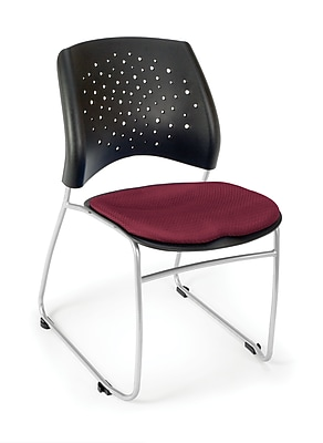 OFM Stars Series Fabric Stack Chair With Triple Curve Seat Design, Burgundy