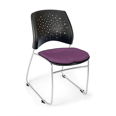 OFM Stars Series Fabric Stack Chair With Triple Curve Seat Design, Plum